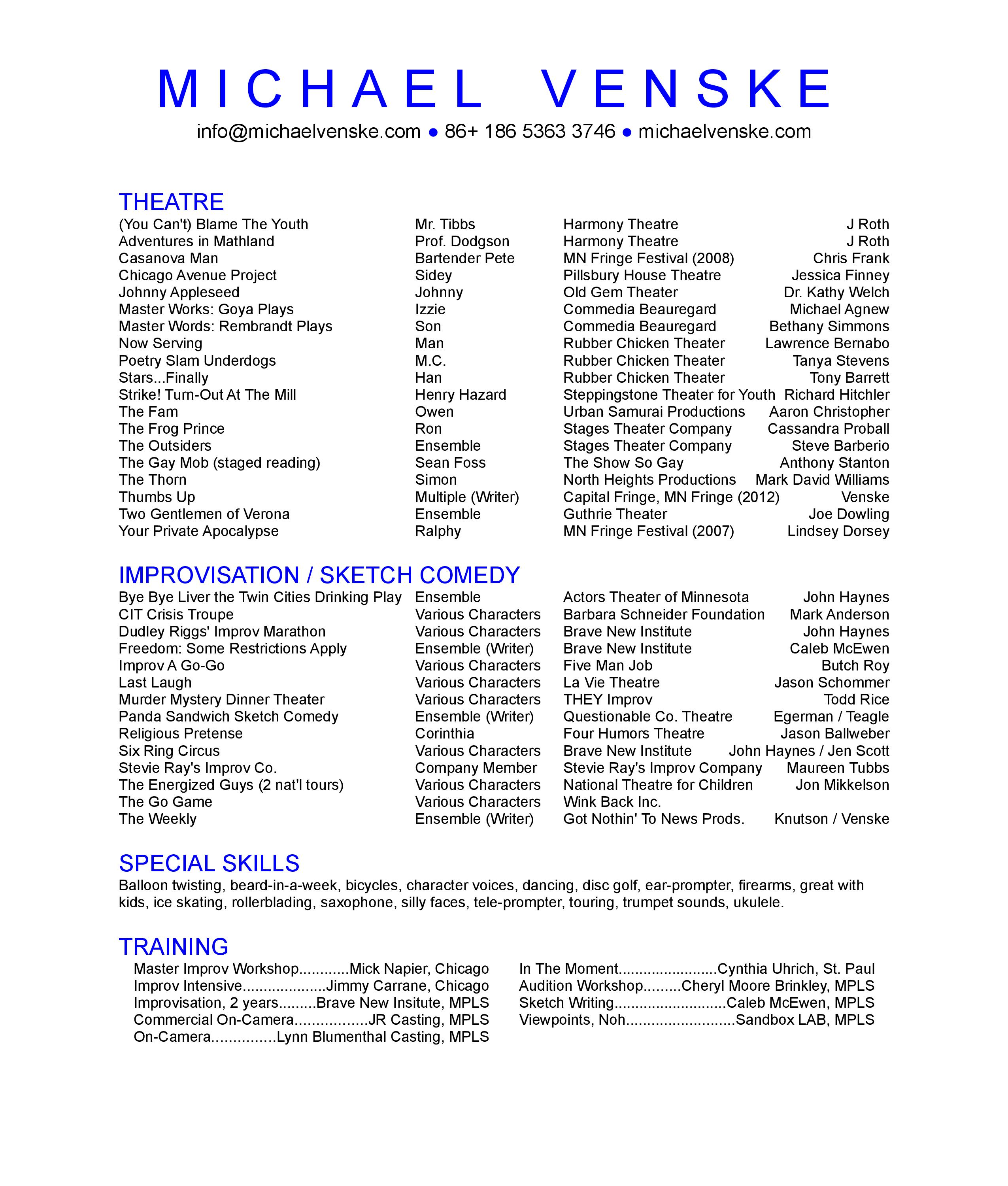 tech theatre resume